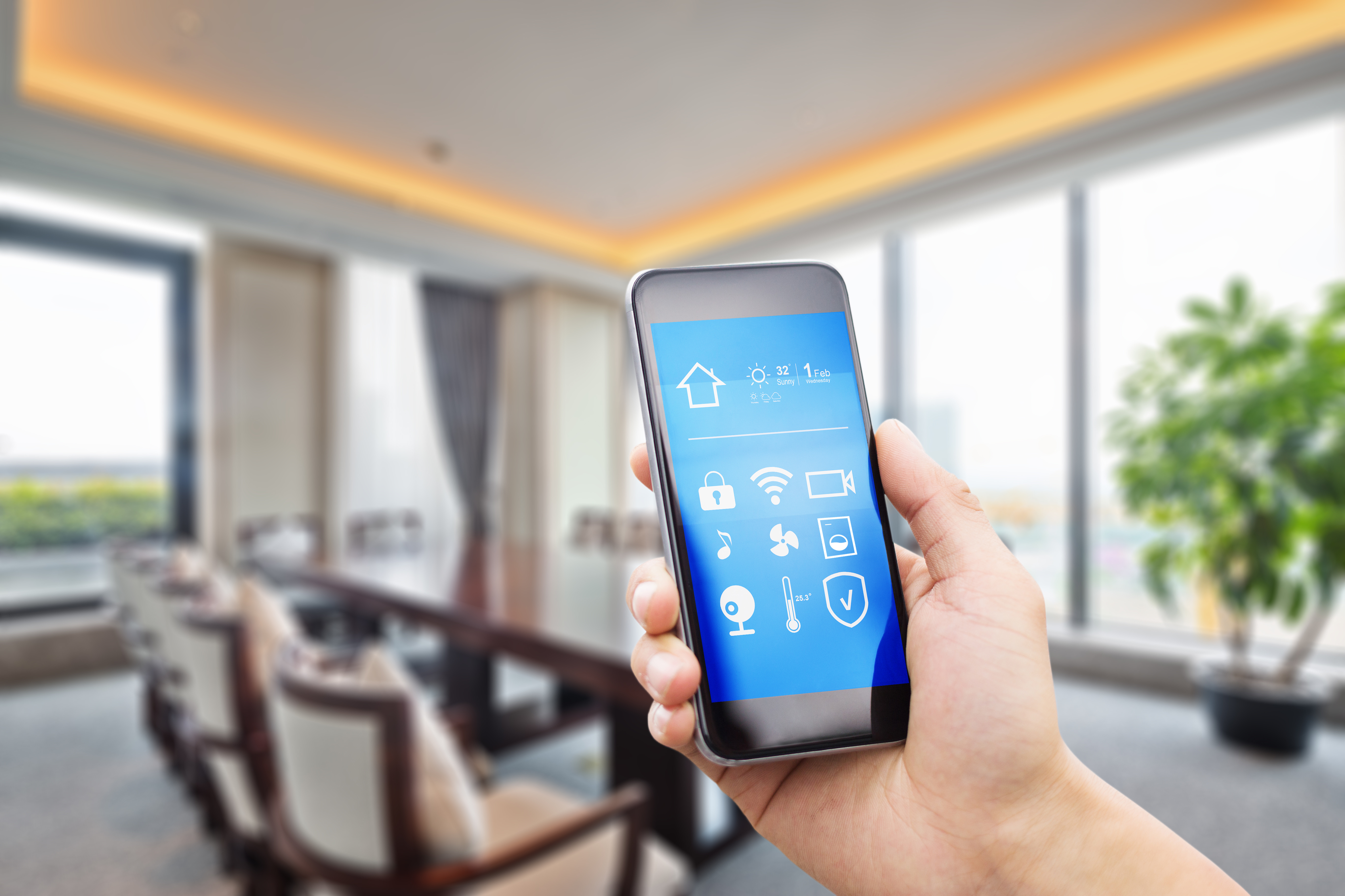 mobile phone with modern meeting room